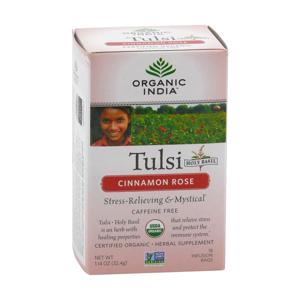 Organic India Čaj Tulsi Cinnamon Rose, porcovaný, bio 32,4 g, 25 ks